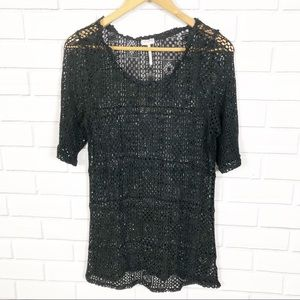 Intimately Free People Black Crochet Top L